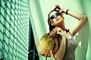 Attractive woman posing in modern building